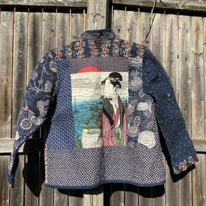 Vintage Quilted Jacket- Japanese Geisha on Back XS